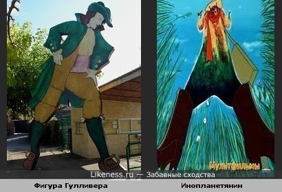 Гулливер и инопланетянин из мультфильма «Контакт»