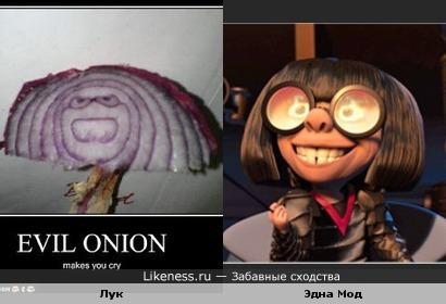 Фиолетовый лук в разрезе напомнил Эдну Мод