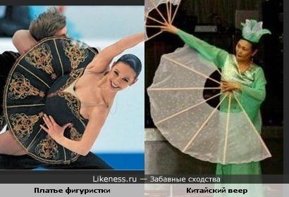 Платье фигуристки похоже на веер