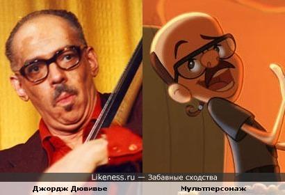 """Джордж Дювивье и мультперсонаж ( """"Любопытный Джордж"""" )"""