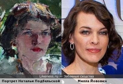 Портрет Натальи Подбельской (1910) кисти Николая Ивановича Фешина и актриса Милла Йовович
