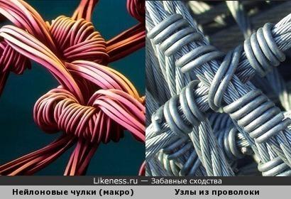 Нейлоновые чулки под микроскопом напомнили узлы из проволоки