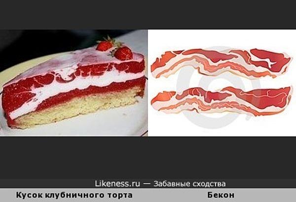 Кусок клубничного торта с беконом