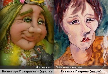 Кикимора Прекрасная (кукла) и Татьяна Лаврова (шарж)