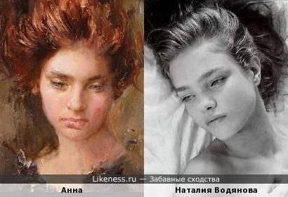 Девушка на холсте и Наталия Водянова