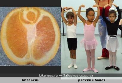 На срезе апельсина девочка в балетной позе