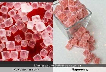 Кристаллы соли и мармелад