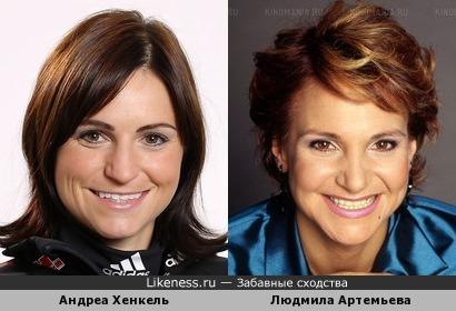 Биатлонистка Андреа Хенкель похожа на Людмилу Артемьеву