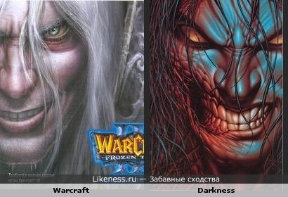 Обложка игры Warcraft и обложка комикса Darkness