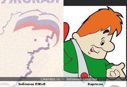 Эмблема ЕдРо на карте Калужской области чем-то похоже на Карлсона