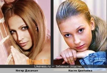 Если Настю погуще накрасить и волосы распустить, то вылитая победительница Евровидения 2011