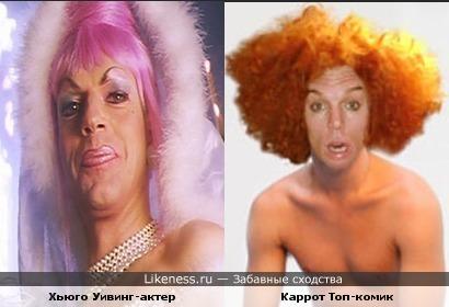 Хьюго Уивинг и Carrot Top безумно похожи!!!