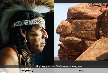 Гора напоминает лицо индейца.