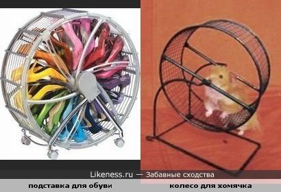 Подставка для обуви похожа на колесо для хомячка