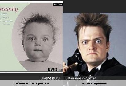 Ребенок с открытки похож на Александра Пушного