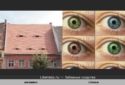 Чердачные окошки похожи на глаза