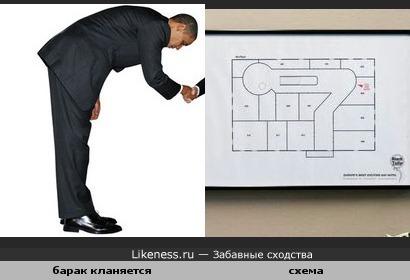 Схема внутри здания похожа на наклонившегося человека