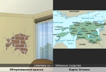 """Облупившаяся краска на стене в кадре из мультфильма """"School 13"""" похожа на границу Эстонии"""