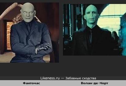 Жан Маре в роли Фантомаса похож на Рэйфа Файнса в роли Волан-де-Морта