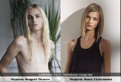 Модель Андрей Пежич похож на модель Анну Селезневу