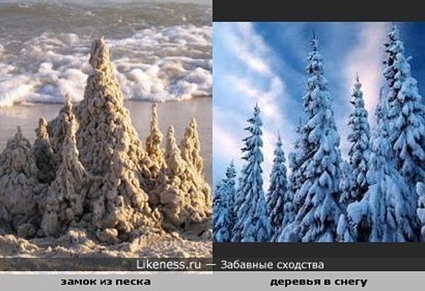 замок из песка похож на деревья покрытые снегом
