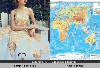 Узор на платье похож на карту мира