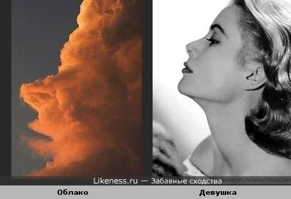 Облако похоже на профиль человека.