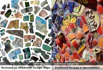 Макрообъекты Google Maps, как кусочки битой посуды.