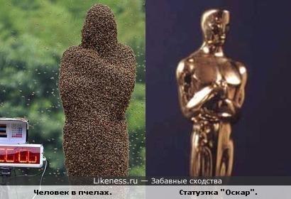 Человек, облепленный пчелами, похож на статуэтку.