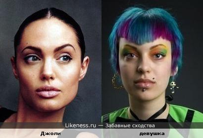 Девушка напоминает Анджелину Джоли чертами лица!