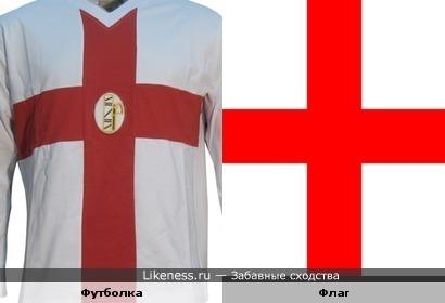 Футболка похожа на английский флаг