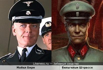 Майкл Бирн (Полковник Фогель) и генерал Вильгельм Штрассе (Wolfenstein: The New Order))