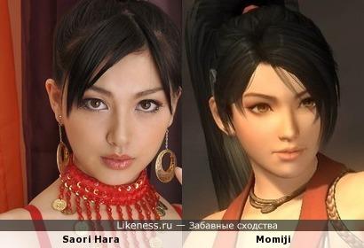 Saori Hara (порно звезда) похожа на Momiji (DOA 5 ULTIMATE)