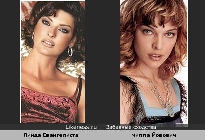 Милла Йовович похожа на Линду Евангелисту в молодости