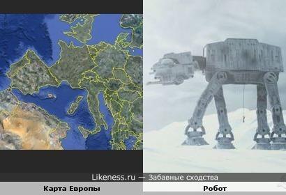 """Карта Европы похожа на робота из """"Звёздных войн"""""""