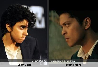 Образ Lady Gaga напомнил Bruno Mars в клипе Grenade