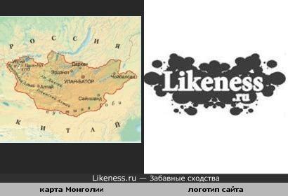 Карта Монголии и логотип Лайкнесс