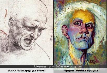 """Эскиз Леонардо да Винчи и портрет Эммета Брауна из х/ф """"Назад в будущее"""""""