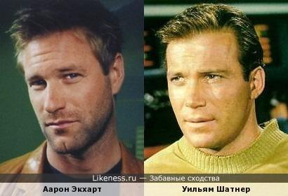 Аарон Экхарт и Уильям Шатнер