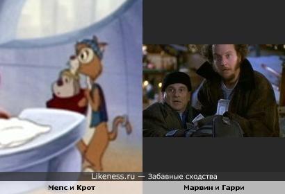 """Бандиты из мультфильма """"Чип и Дейл"""" и бандиты из фильма """"Один дома"""""""