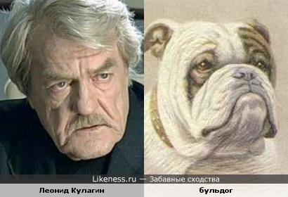 Леонид Кулагин и бульдог