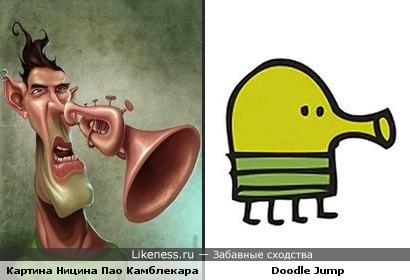 Персонаж картины Ницина Пао Камблекара похож на Doodle Jump