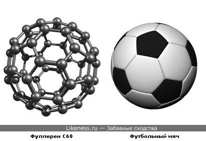 Фуллерен С60 похож на футбольный мяч