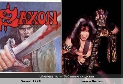 Персонаж обложки дебютного альбома группы Saxon поохж на лидера группы W.A.S.P