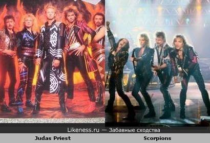 Был период, когда Judas Priest и Scorpions носили почти одинаковые сценические костюмы (кто видел клипы с альбомов, тот поймёт)