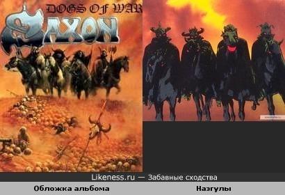 """Персонажи обложки альбома группы Saxon и назгулы из мультфильма """"Властелин Колец"""" (1978)"""