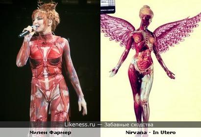 Костюм Милен Фармер напоминает ангела с обложки Nirvana