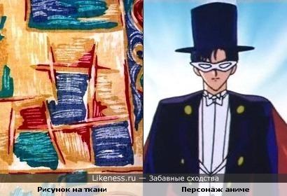 Рисунок на ткани похож на персонажа аниме