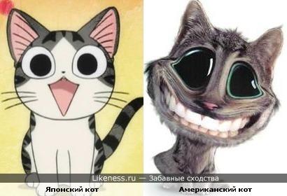 Улыбающийся японский кот очень похож на улыбающегося американского кота