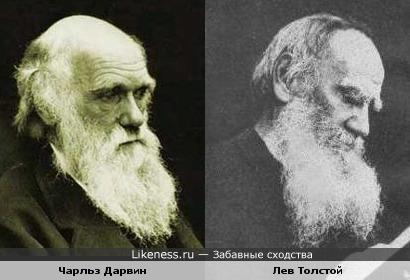 Чарльз Дарвин похож на Льва Толстого